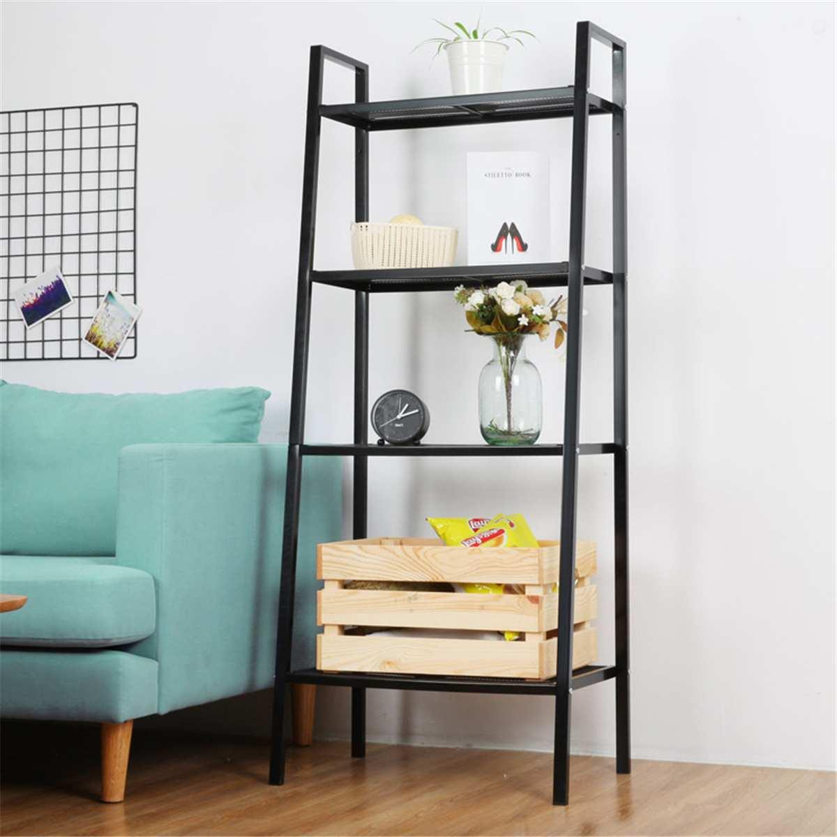 Estantería de almacenamiento de alambre de 4 niveles, estantería de artículos variados para sala de estar, estante de decoración ajustable para el hogar, estante de pie Nórdico Estante de baño Sokoltec hw47885wh