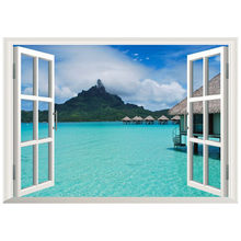 Seaview mural Water Cottages fake 3d window vinyl wall stickers home decoration blue sky clear water scenery poster wallpaper 70*50cm(China)