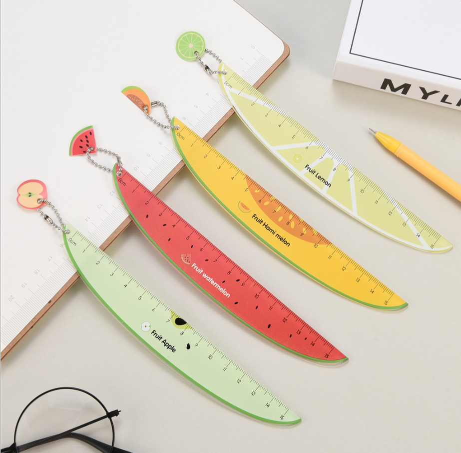 4pcs 15cm Cute Fruit Plastic Ruler Stationary Accessory School Supplies Measuring Straight Rulers Lineal Tool Student Drawing