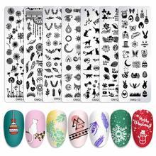 Прямоугольник Рождество Снежинки шаблон ногтей штамповки пластины