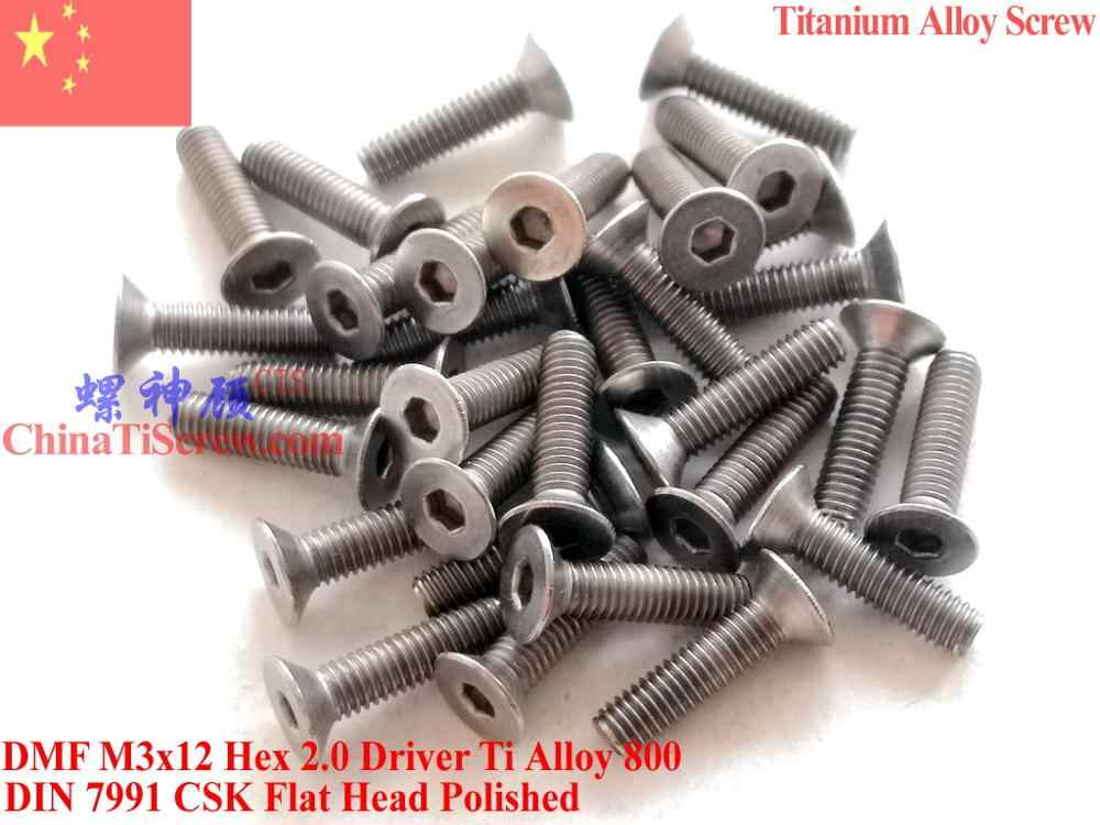 Titanium Alloy Sekrup M3x6 M3x8 M3x10 M3x12 M3x14 M3x16 untuk Drone Mini DIN 7991 Kepala Datar Hex 2.0 Driver Dipoles 12 Pcs