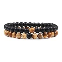 Hot 2pcs/Set Tiger Eye Black Lava Natural Stone Beaded Bracelets Couples Distance Bracelet Energy Elastic Rope Malachite Jewelry