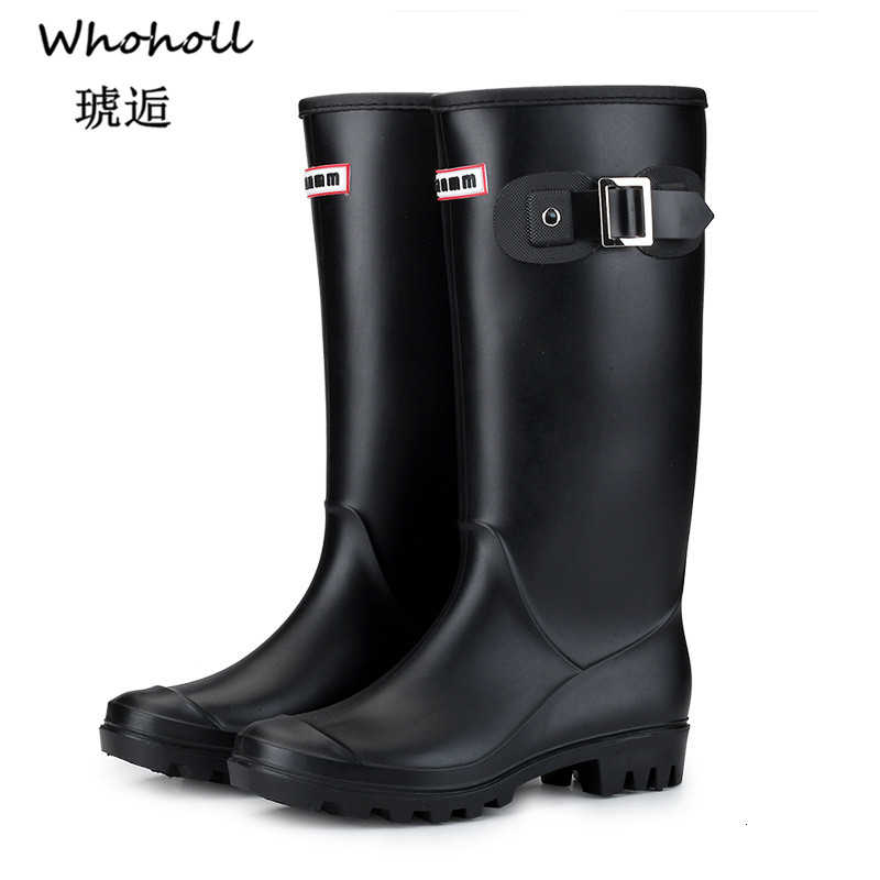 Whoholl Brand Punk Style Zipper Tall Boots Women's Pure Color Rain Boots Outdoor Rubber Water Shoes For Female Plus Size 36-41