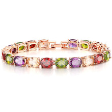 bracelet Womens Amethyst gemstone bracelets ladies Jade crystal drop-shaped colored zircon BR0127