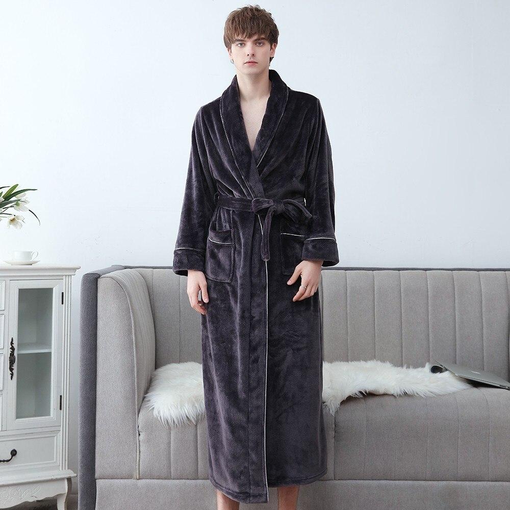 Men Flannel Kimono Robe Gown New Coral Fleece Bathrobe Thicken Sleepwear Male Winter Nightgown Nightwear Lingerie Oversized 3XL