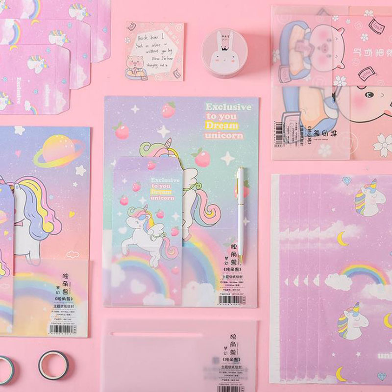 9 Pcs/pack Cartoon 3 Envelopes+ 6 Sheets Letters Animal Unicorn Dinosaur Pig Envelope Letters Paper Set Stationery School Gifts