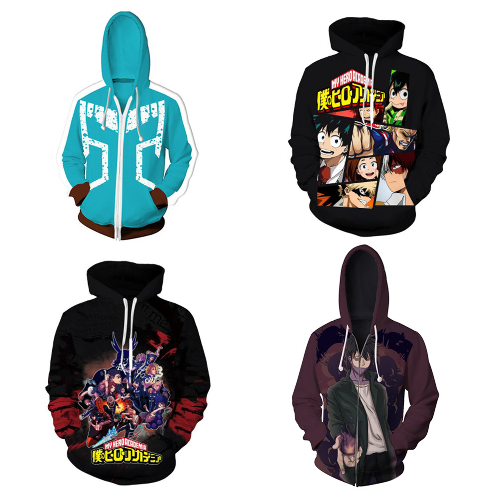Boku No Hero Bakugou Katsuki/Iida Tenya/Todoroki Jackets Cosplay Costume My Hero Academia Sportswear Hooded Zipper Sweatshirts
