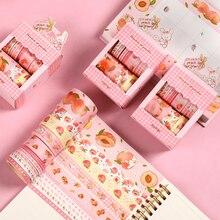 Jianwu 10 pçs/set mão conta com fita washi kawaii rosa pêssego masking fitas scrapbooking diário artigos de papelaria decorativos suprimentos
