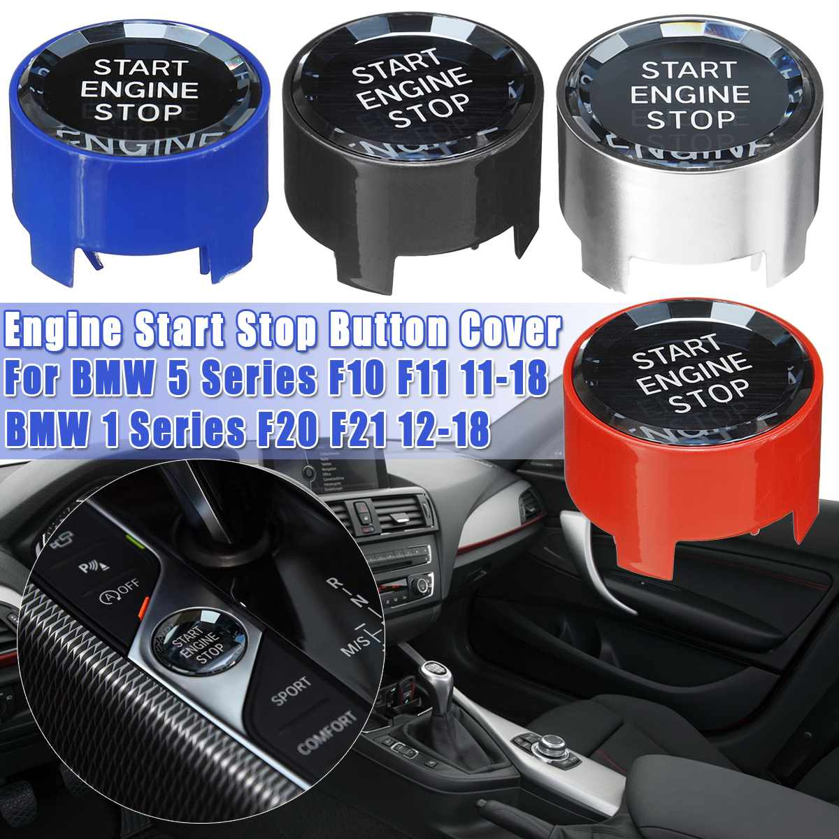 1PCS Crystal Engine Start Stop Button Cover For <font><b>BMW</b></font> 1 2 <font><b>3</b></font> 4 5 series F10 F11 F20 F21 F22 F23 F30 F31 F32 F33 Replacement Parts image