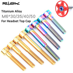 RISK Titanium M6 * 30/35/40/50mm śruby do słuchawek rowerowych MTB mostek rowerowy górne śruby mocujące M6x30mm M6x35 M6x40 M6x50mm śruby rowerowe