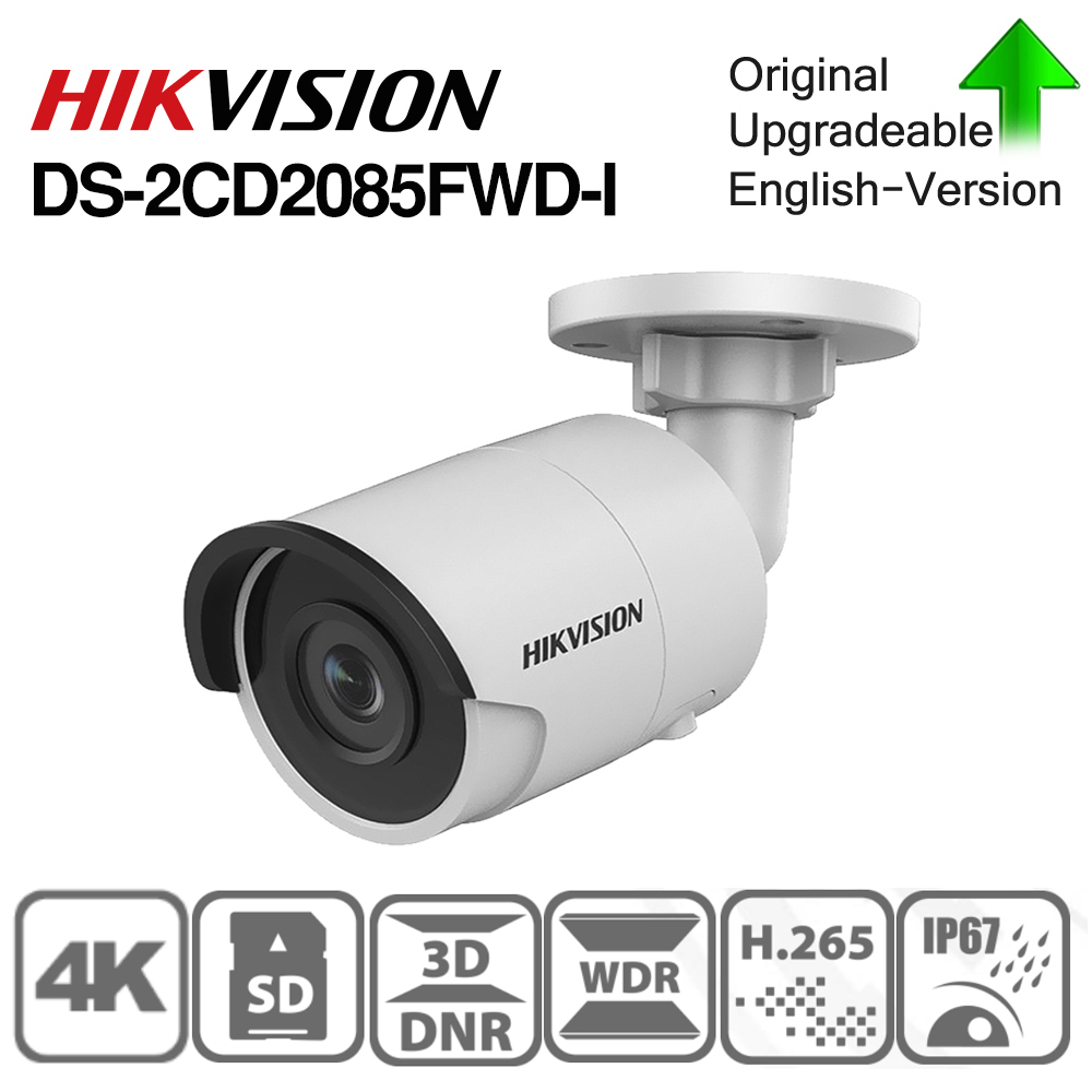 Hikvision Original DS-2CD2085FWD-I 8MP IR Fixed Bullet IP Camera POE CCTV Network Dome Security Camera IP67 IR30 3D DNR