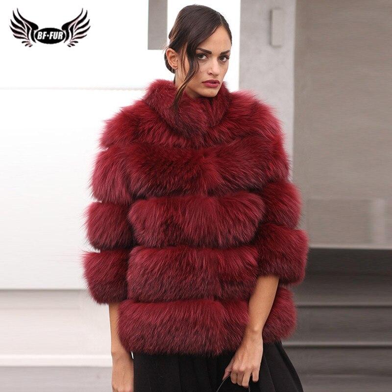 Luxury Woman Winter Genuine Fur Coats Full Pelt Real Fox Fur Coat For Women Stand Collar Fashion Plus Size Fur Jacket Outwear