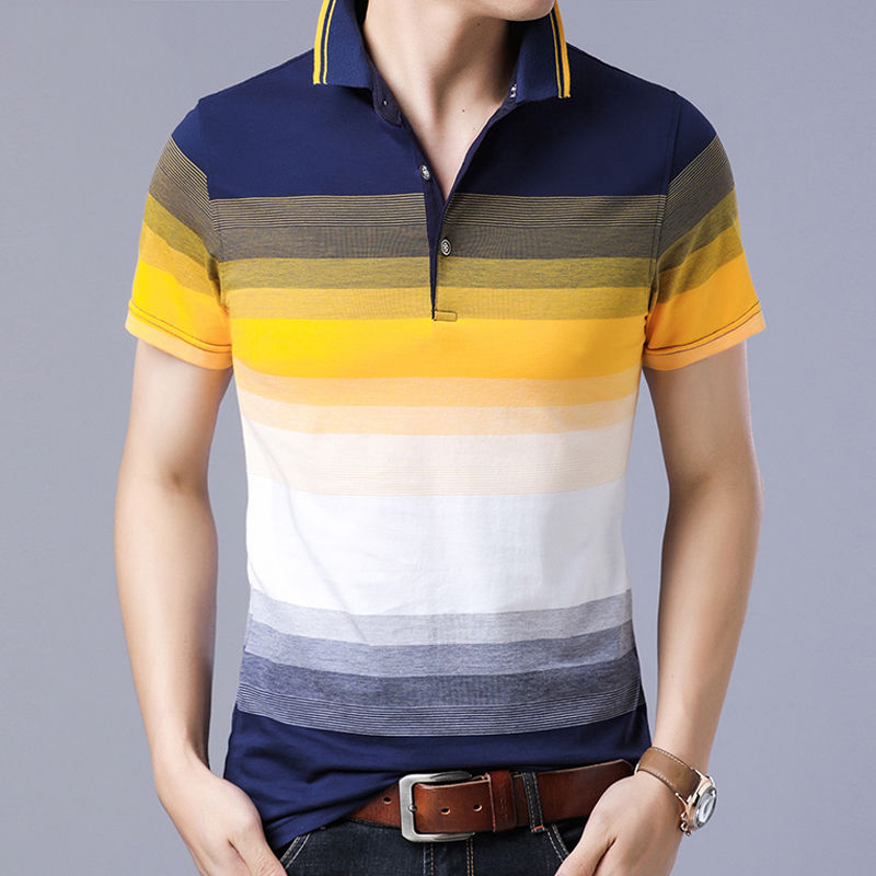 Striped Men's Polo Shirts 2019 Short Sleeve Tops Turn Down Collar Golf Polo Shirt Men Cotton Brand Soft Casual Top Shirts Polos