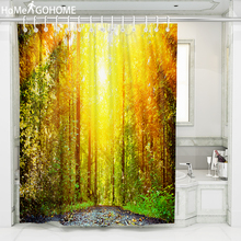 где купить Forest Shower Curtain Sunlight Painting Waterproof Bathroom Shower Curtain Green Scene 3D Landscape cortinas de bano Large Size дешево