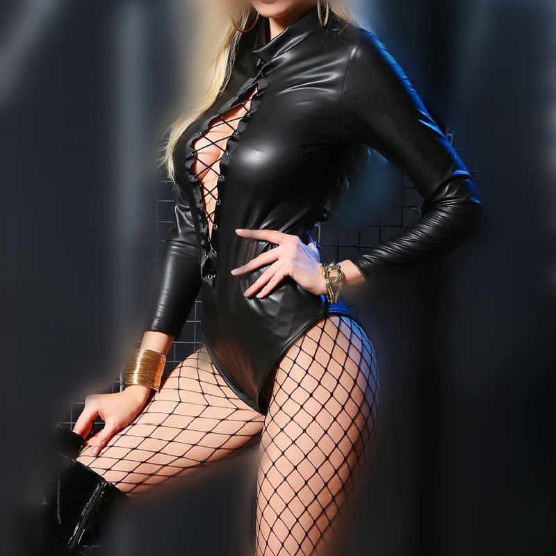 에로틱 섹시한 라텍스 속박 바디 수트 섹시한 테디 란제리 여성 유방 노출 점프 슈트 옷 가죽 고양이 복장 섹스