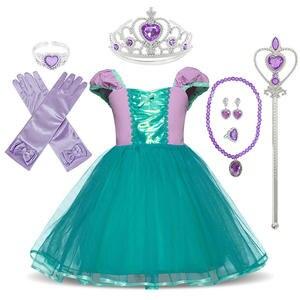 Dress-Up Birthday-Costume Princess-Dress Mermaid Rapunzel Snow-White Little-Girl Kids