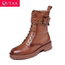 QUTAA 2020 วัวหนังLace Up BUCKLE Zipperแฟชั่นผู้หญิงรองเท้าสแควร์HeelรอบToeข้อเท้าฤดูหนาวรองเท้าขนาด 34 42