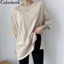 Colorfaith nuevo 2021 mujeres de primavera verano Camisetas de colores múltiples parte baja holgada media manga minimalista dividir camisetas Midi T1165