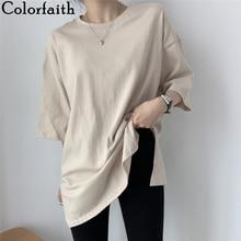 Colorfaith New 2021 Women Spring Summer T-shirts Solid Multi Colors Loose Bottoming Half Sleeve Minimalist Split Midi Tops T1201