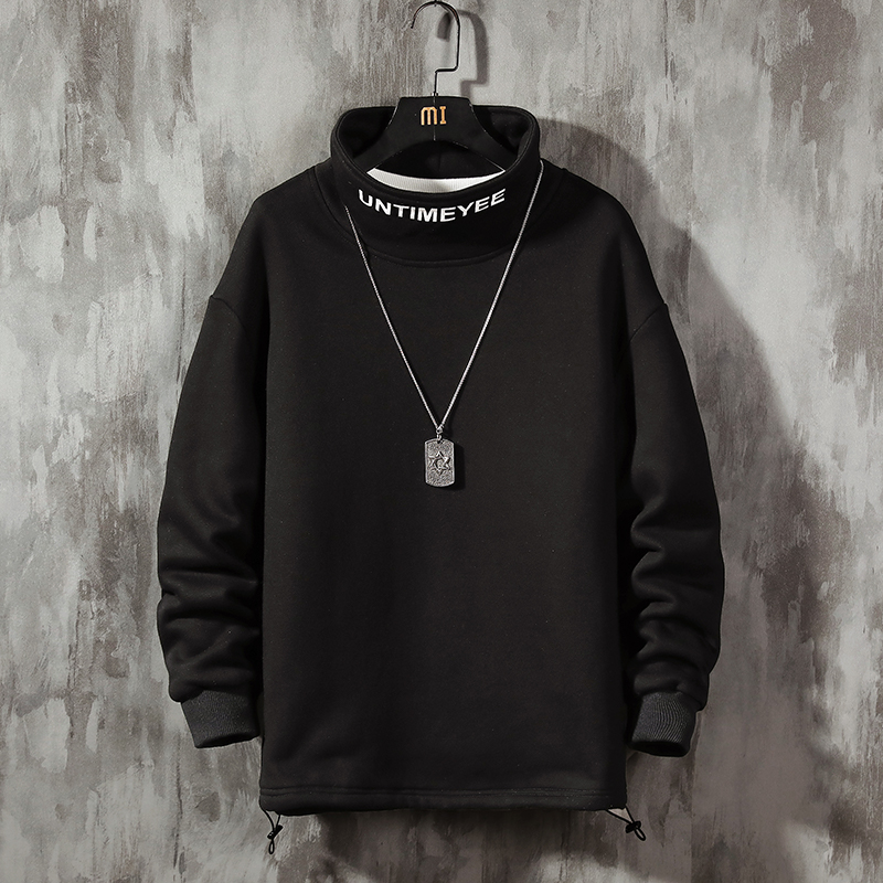 Fashion Men's Hoodie-Loose-Fit Letters Printed Turtleneck Hoodie Men's Sports Hip Hop Loose-Fit Hoody Cotton Spring Autumn New