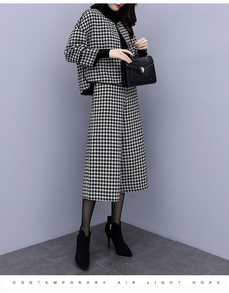 Image 3 - 2019 Autumn Winter Houndstooth Two Piece Sets Outfits Women 