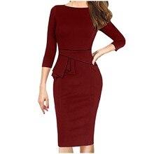 Skirt Jacket Peplum Business-Party Office Women with Belt 2pcs-Set Vestidos Vestidos