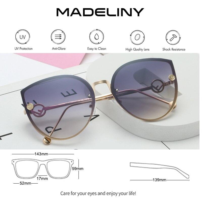 MADELINY New Luxury Brand Design Cat Eye sunglasses Women Mirror Vintage Rimless Sun Glasses Gafas Gradient ocean lens MA336 3