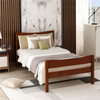 Wood Platform Bed with Headboard and Wooden Slat Support Stylish Bed Base For Bedroom Variety of Decorating Styles