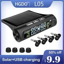 Hgdo carro sistema de alarme pressão dos pneus segurança energia solar display digital inteligente carro tpms sistema detector