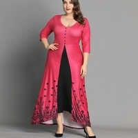 6XL vestido de talla grande con estampado Floral para Mujer vestido largo Vintage de primavera elegante vestido de fiesta vestido de botón para Mujer vestidos Mujer D30