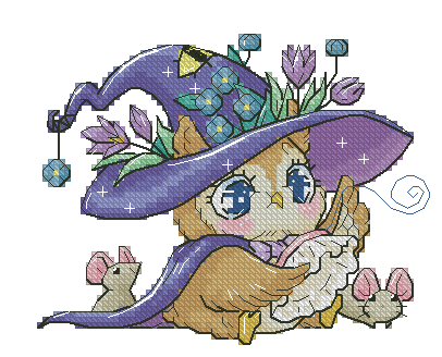 GG Gold Collection Counted Cross Stitch Kit Cross stitch RS cotton with cross stitch <font><b>Merejka</b></font> Embroidered Little Witch - Owl image