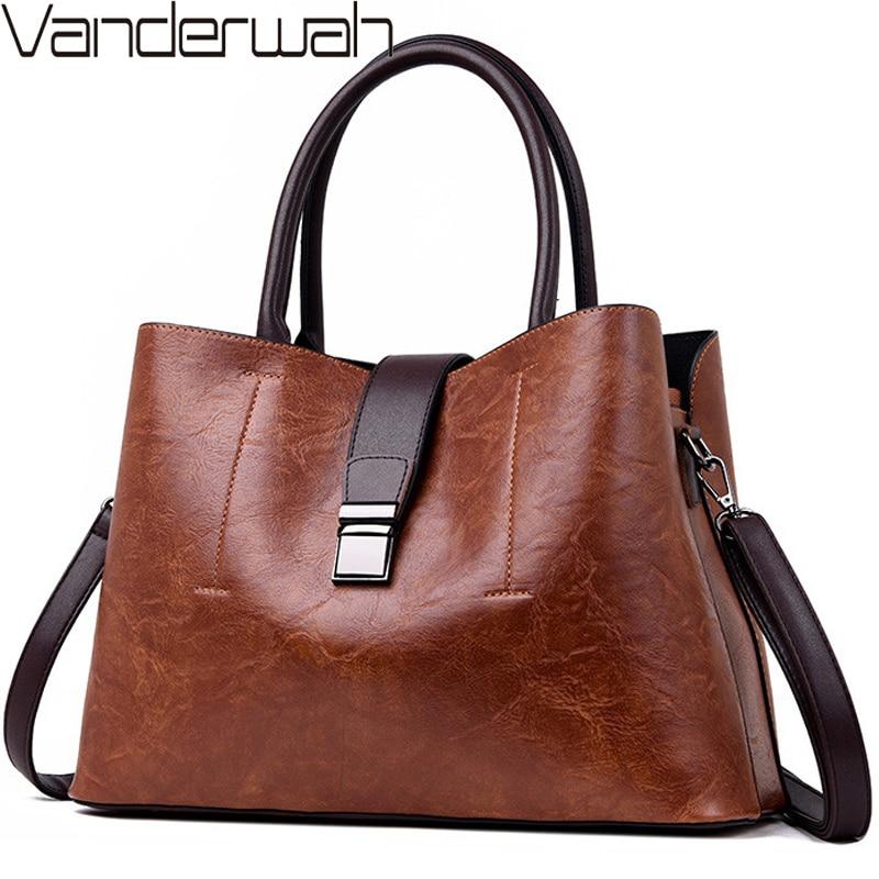 Vintage Ladies Leather Hand Bags For Women 2018 Luxury Handbags Women Bags Designer Casual Tote Crossbody Bag Sac A Main Femme