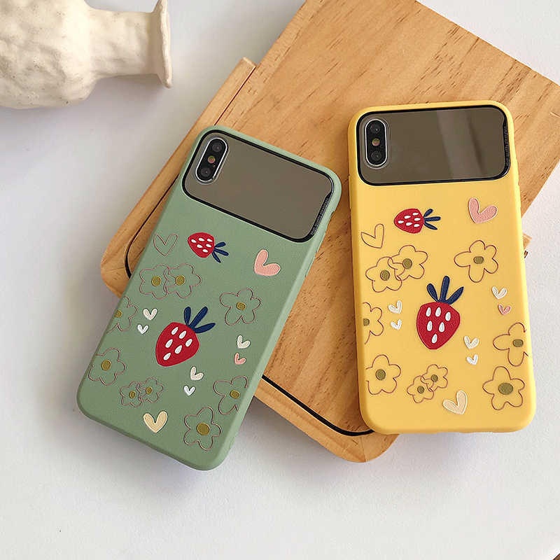 Matte Strawberry Floral Mirror Phone Case for Iphone 11 11pro Max 6s 7 8plus Xr Xs Max X Shockproof Make Up Soft Tpu Back Cover