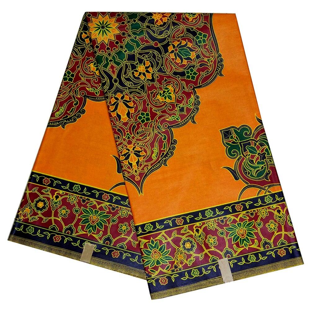 African Ankara Guaranteed Real Dutch Wax Print Orange Fabric Wax Fabric 6 Yards 2019 New