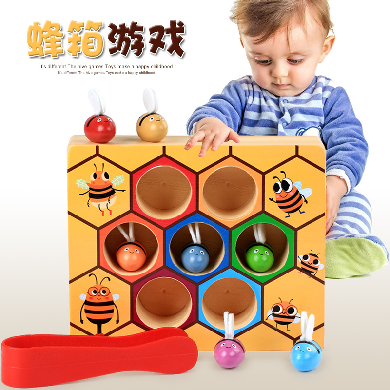 Children Early Education Toy Wood Little Bee Hive Game Catch Worm Game Color Cognitive 0-6-Year-Old
