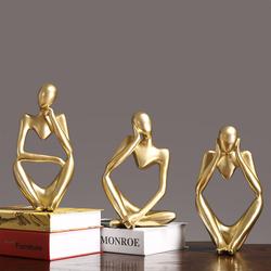Modern European Style Resin Abstract Thinker Golden Statue for Decoration Simple Sculpture Figurine Hotel Office Home Decor