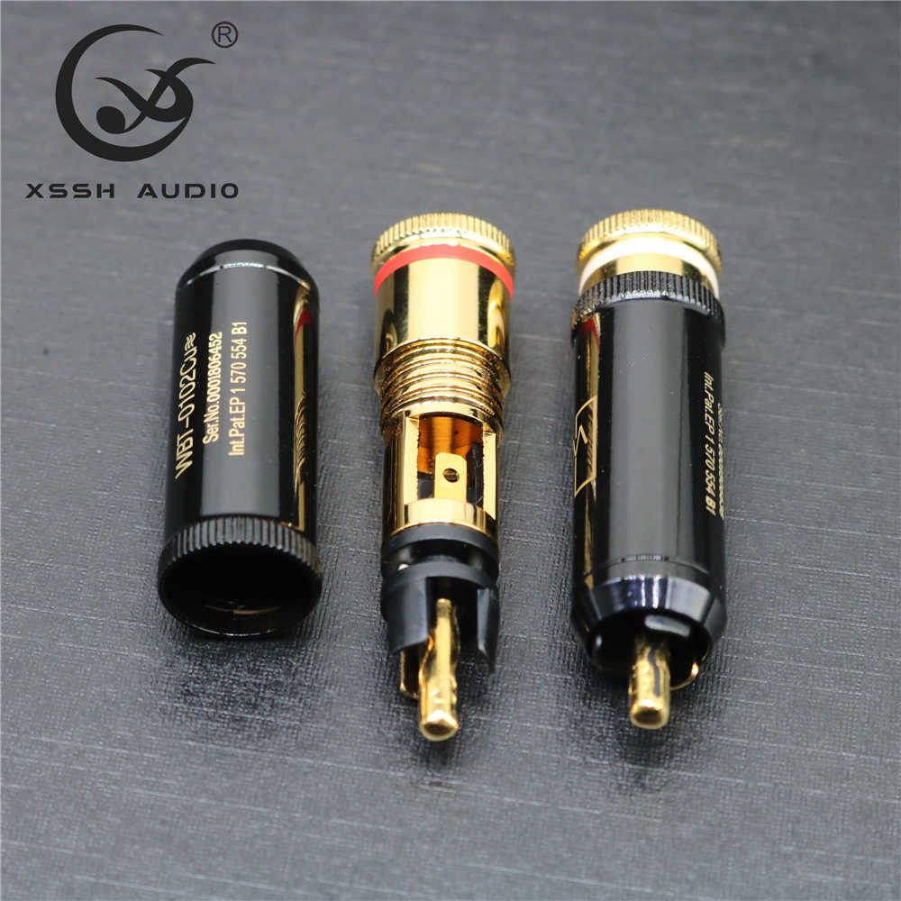 4 Pcs Hi-End 0102Cu Vergulde Hifi Xssh Audio Video Connectors Tv Tuner Rca Uitgang Plug Pluggen Jack