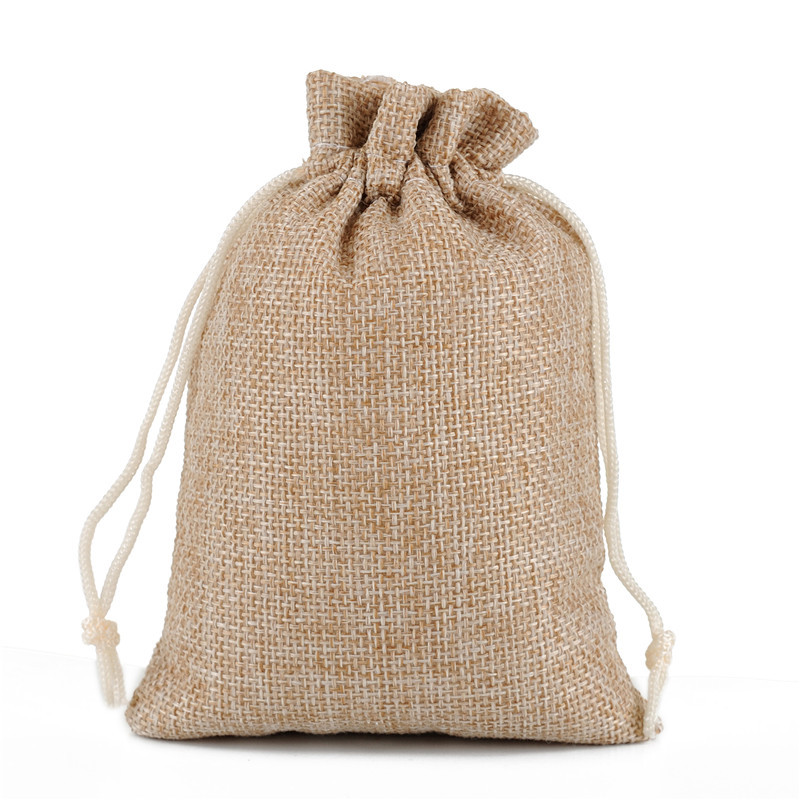 100pcs/lot 13x18cm 5x7 Inch Burlap Linen Drawstring Bags For Wedding Birthday Party Candy Gift Pouch Bag Personalize Custom Logo