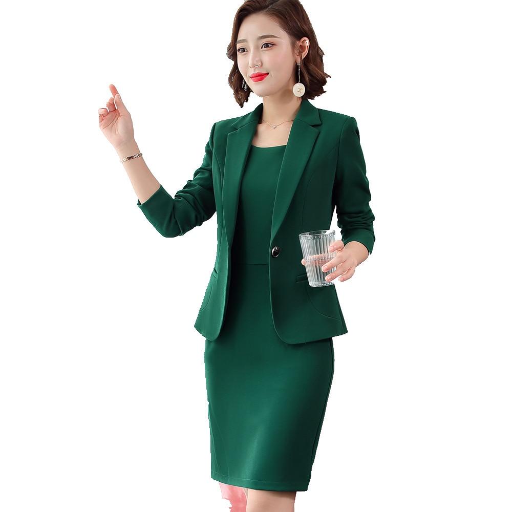 Blazer Dress Suits Ladies Office Wear Full Sleeve Slim Blazer+Sleeveless Dress 2 Piece Set Vestido Formal Dress Suit Woman 8092