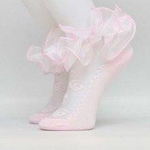 20 пара/лот, модные кружевные носки для малышей милые кружевные носки с цветочным принтом и бантиками для новорожденных девочек хлопковые носки принцессы для девочек