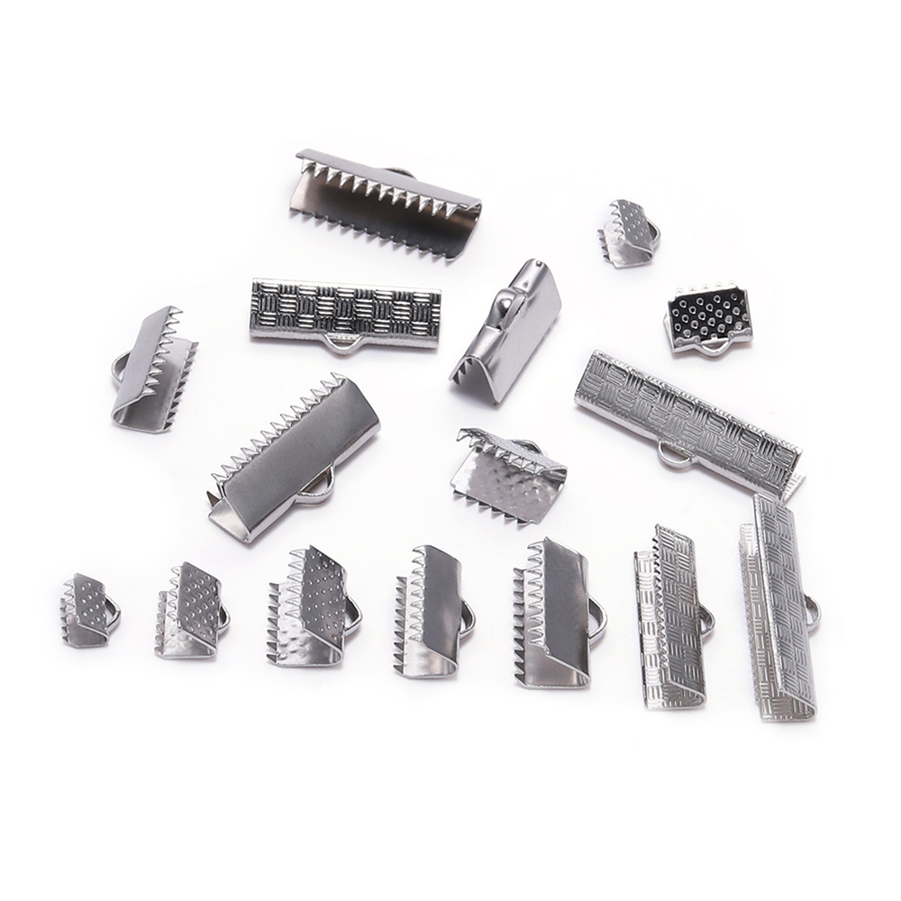 30pcs Stainless Steel Crimp End Bead Buckle Tip Clasp Cord Flat Cover Clasps Diy Necklace Bracelet Connectors For Jewelry Making