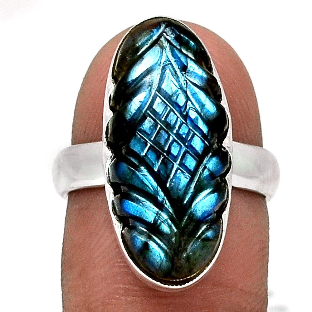 Оригинальное резное кольцо из лабрадорита 925 пробы Серебряное, США Размер: 6,75, AR4341 Кольца    АлиЭкспресс
