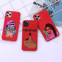 Funda de teléfono para chica afroamericana, carcasa de silicona roja para iPhone 12 11 Pro Max X XR XS 8 7 6 Plus Mini SE2020
