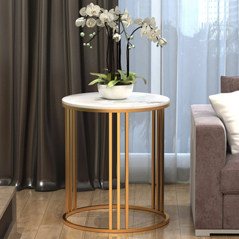 цена на Creative luxury marble corner side table modern tea table living room sofa bedroom side cabinet Nordic round side table