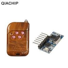 QIACHIP 433mhz RF ממסר מקלט מודול אלחוטי 4 CH פלט עם למידה כפתור 433 Mhz RF שלט רחוק משדר Diy