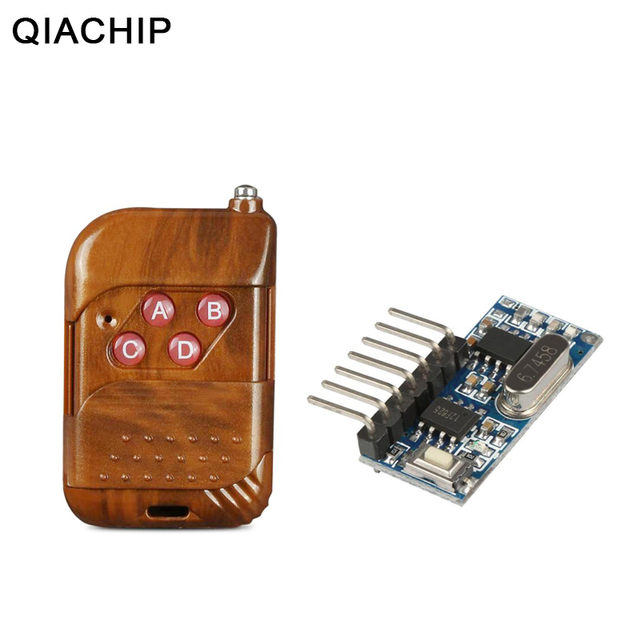 QIACHIP 433mhz RF Relay Receiver Module Wireless 4 CH Output With Learning Button and 433 Mhz RF Remote Controls Transmitter Diy