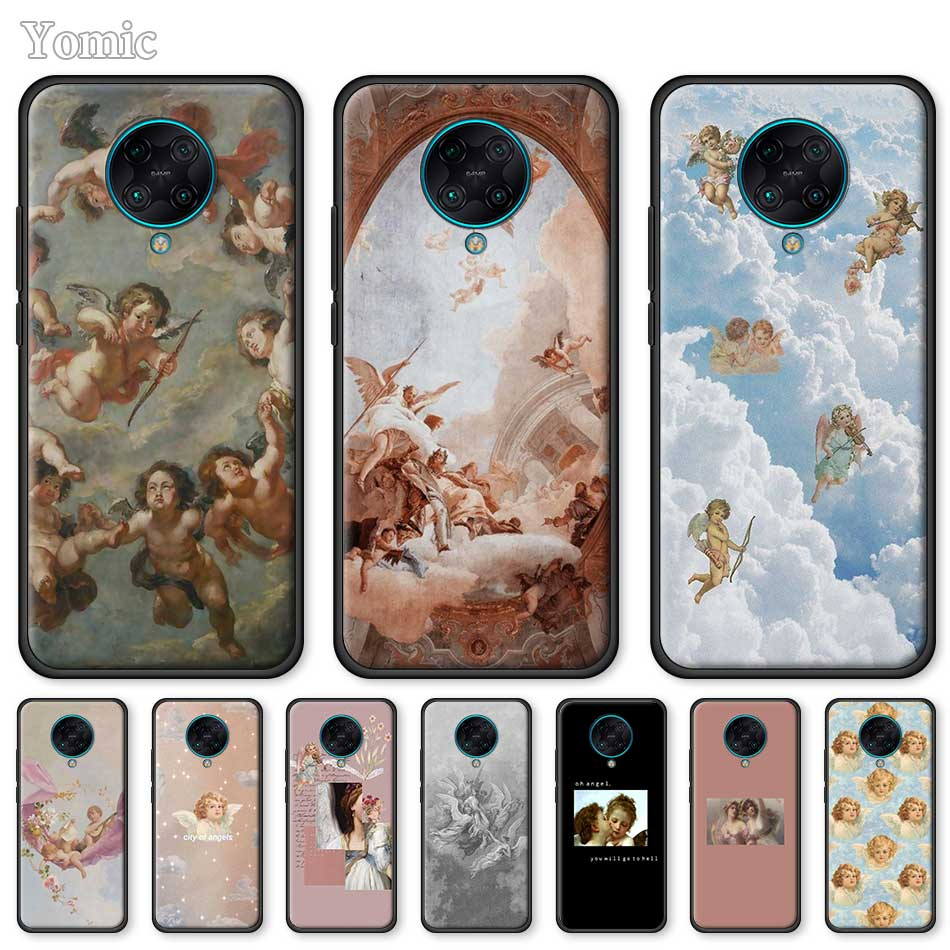 Black Case For Xiaomi Redmi Note 9S 8T 8 7 8A 7A 9 K30 K20 Pro 6 6A Soft Phone Shell Renaissance Angels Silicone Cover