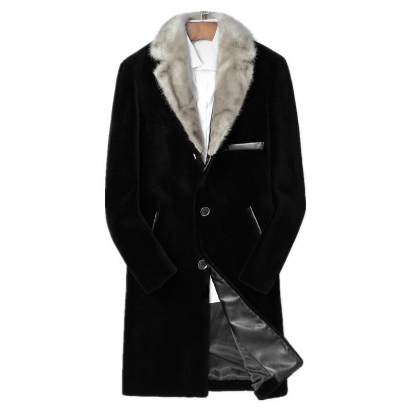 Real Sheep Shearling Fur Coat Winter Jacket Men 100%Wool Coat Real Mink Fur Collar Streetwear Jackets Chaqueta LSY088150 MY1615