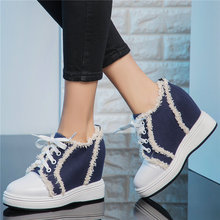 Low Top Platform Oxfords Women Cow Leather High Heel Pumps Lace Up Canvas Punk Sneakers Wedges Tennis Shoes Vulcanized New