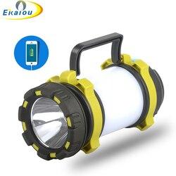 Новый светодиодный фонарь для кемпинга, портативный фонарик T6, зарядка через USB, многофункциональные наружные палаточные фонари, светодиод...
